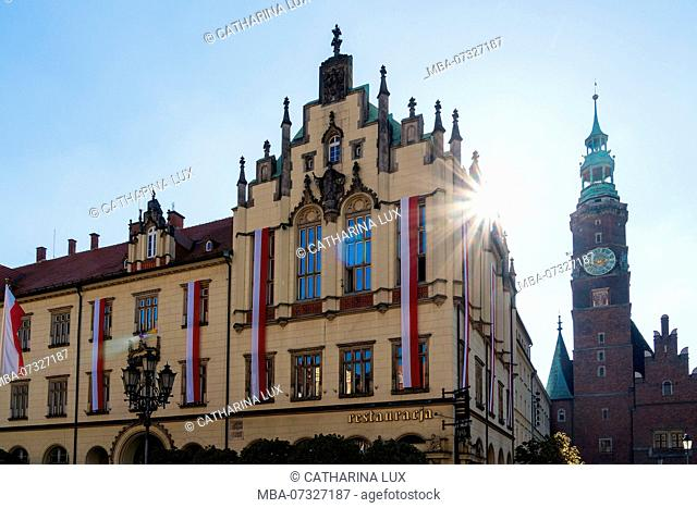 Poland, Wroclaw, old town, old and new town hall