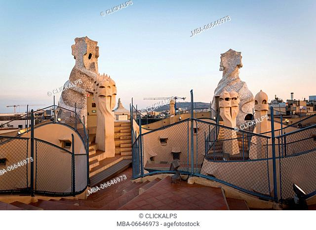 Barcelona, Spain, La Pedrera rooftop, designed by Antonio Gaudi