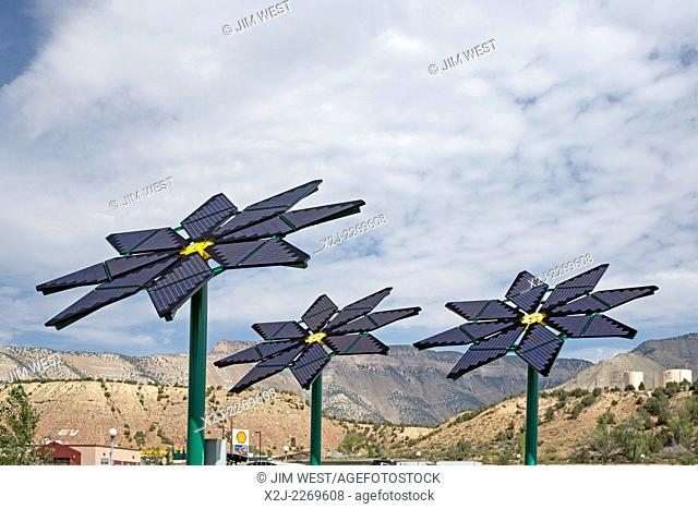 Parachute, Colorado - Solar panels made to resemble flowers provide electricity for a rest stop on Interstate 70