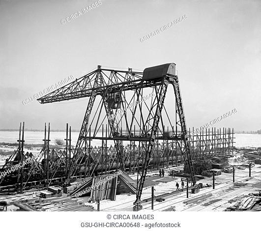 Gantry crane, Great Lakes Engineering Works, Michigan, USA, circa 1905