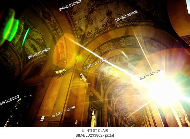 Sunbeams in ornate church