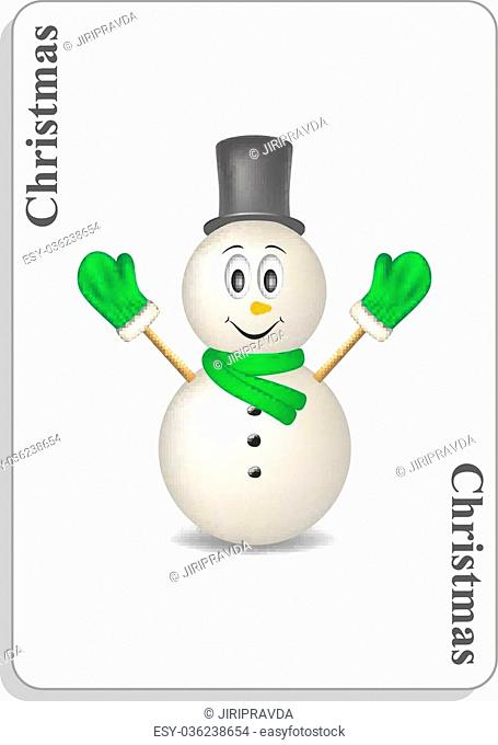 Playing card with smiling snowman and christmas on white background