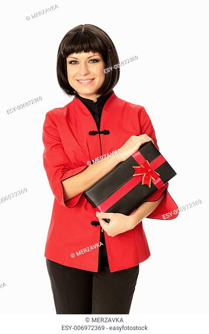 woman giving a black box with red bow as a gift