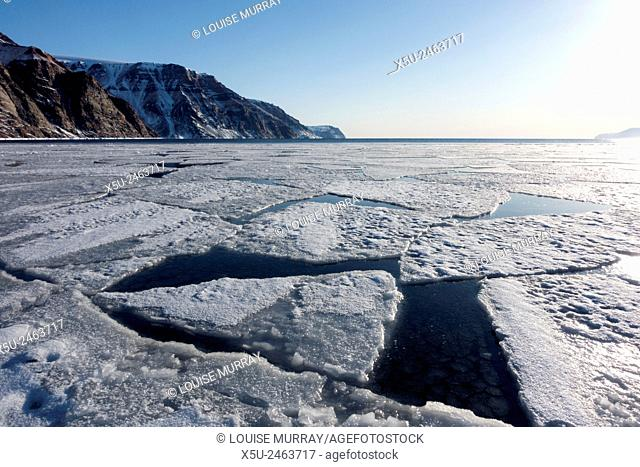 Sea ice break up in spring at the floe edge near Steensby Land, Qaanaaq, Greenland