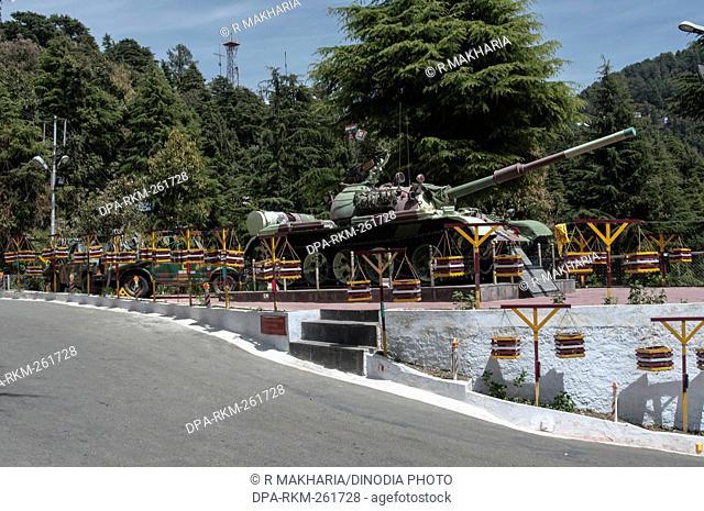 Army tank display, Singing Hills, Dalhousie, Himachal Pradesh, India, Asia