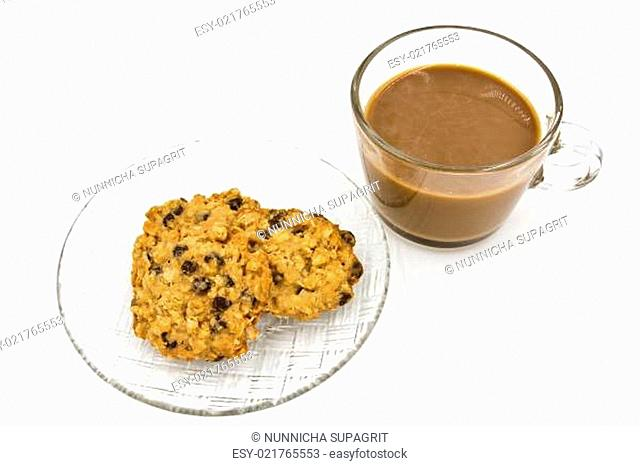 Cup of Coffee and Chocolate chip Cookies isolated on white background