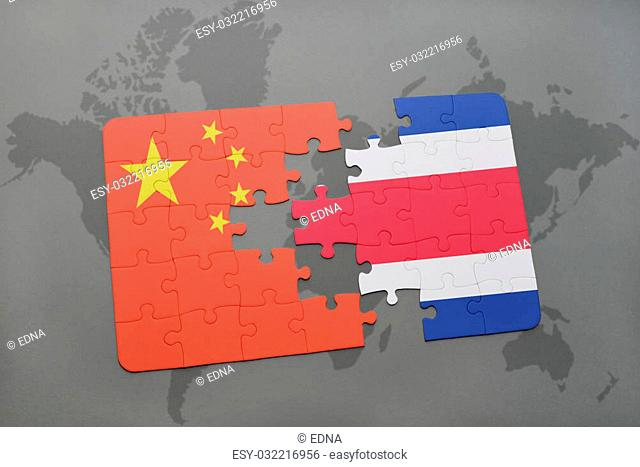 puzzle with the national flag of china and costa rica on a world map background. 3D illustration