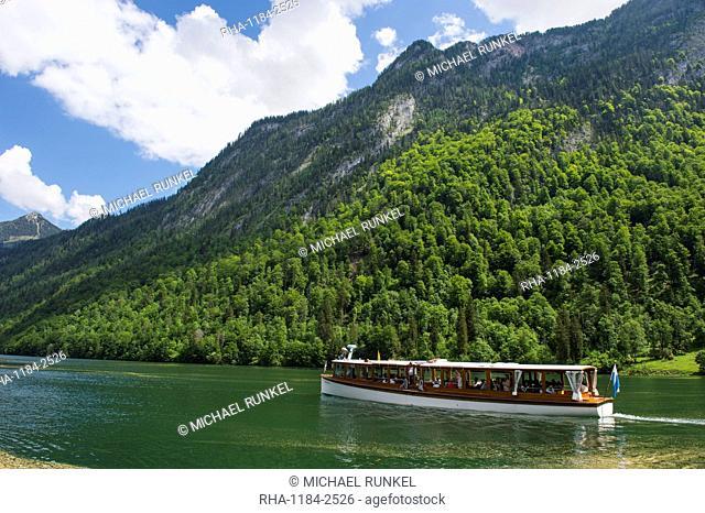 Electric boat on the alpine lake Koenigssee, Berchtesgaden, Bavaria, Germany, Europe