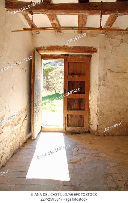 Old monastery in Bocairente, ancient village in the Sierra Mariola, Spain. Door detail