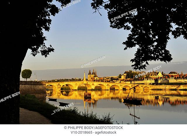 France, Loir et Cher, Loire Valley on the World Heritage list of UNESCO, Blois, the jacques-Gabriel bridge on the Loire river and in background