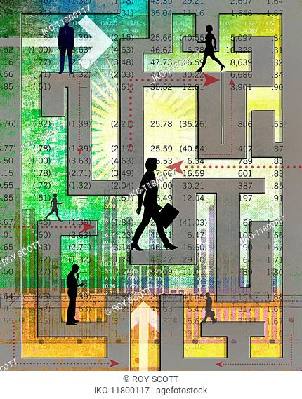 Business people navigating complex financial maze