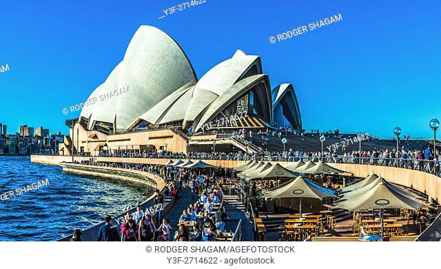 Sydney Opera House, with a passing ferry