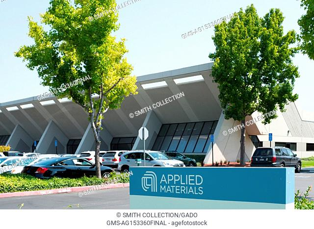 Signage with logo at the Silicon Valley headquarters of semiconductor company Applied Materials, Santa Clara, California, August 17, 2017