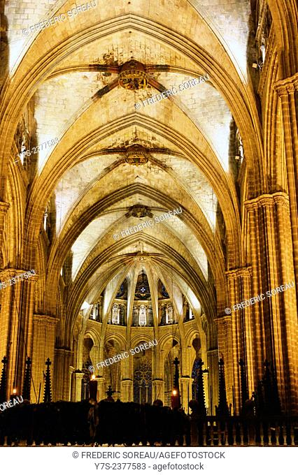 Inside the Cathedral of Santa Eulalia in Barcelona's Barri Gotic district, Catalonia, Spain