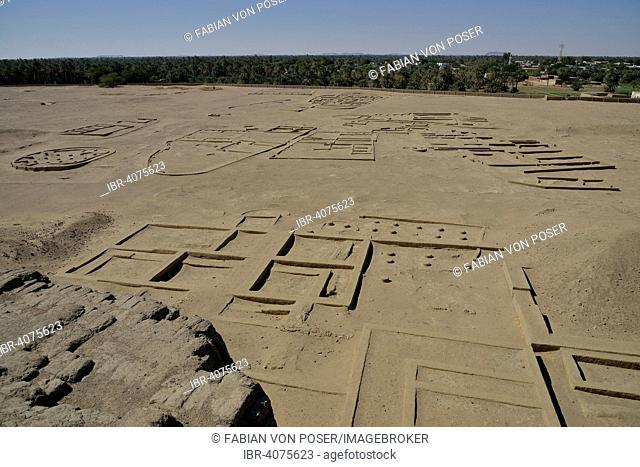 View from the Deffufa, 19-meter-high brick building, ancient city of Kerma, Northern state, Nubia, Nile Valley, Sudan