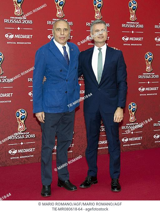 Yves Confalonieri, Alberto Brandi during the press conference of Mediaset tv show FIFA World Cup Russia 2018, Milan, ITALY-07-06-2018