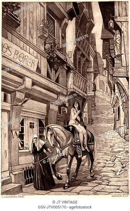 Lady Godiva on Horseback being Guided by Nun on Cobblestone Street, Illustration