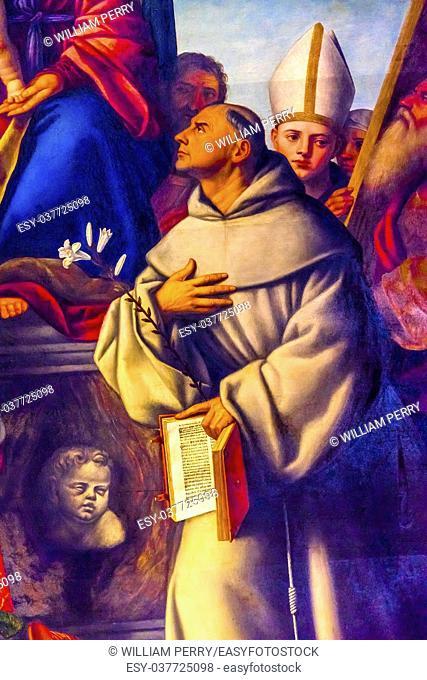 Bernardino Licinio Franciscan Friars Mary Painting Santa Maria Gloriosa de Frari Church San Polo Venice Italy. Church completed mid 1400s