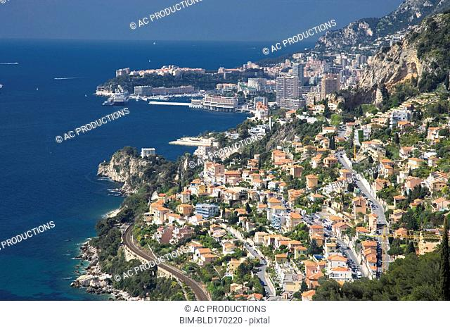 Aerial view of Monaco cityscape over ocean, Monte Carlo, Principality of Monaco