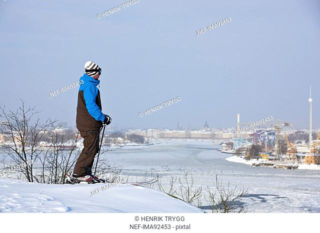 Lone skier looking at landscape