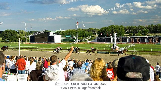 Horse Race Finish / Arlington Park Finish Line, Chicago, Illinois, USA  New synthetic surface on track called Polytrack  Polytrack is designed to cut down...