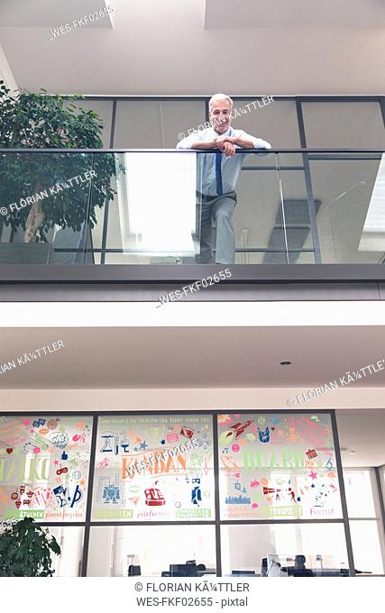 Successful businessman standing at railing in his office