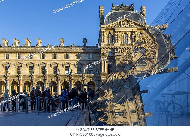 THE LOUVRE AND ITS PYRAMID, SITUATED IN THE HEART OF THE CITY IN THE 1ST ARRONDISSEMENT, IT IS ONE OF THE BIGGEST MUSEUMS IN THE WORLD AND THE BIGGEST IN FRANCE