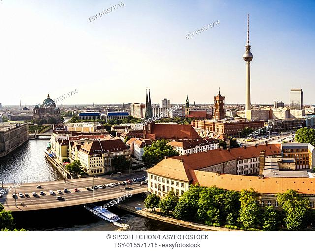 panoramic view on berlin in late afternoon in summer