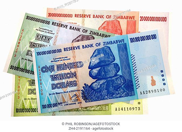 Zimbabwe banknotes reflecting hyper-inflation. 10 trillion to 100 Trillion dollars