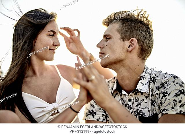 Sensual couple, love, emotions, relationship. Chersonissos, Crete, Greece