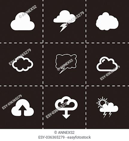 Vector cloud icon set on black background