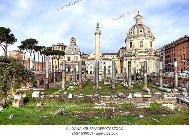 The Forum of Trajan Foro Traiano in Rome, Lazio, Italy is the last, largest and most splendid in the so-called Imperial Forums  It is also the forum in Rome