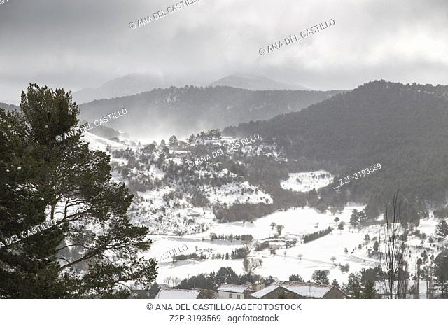 Winter landscape Gudar mountains Teruel Aragon Spain