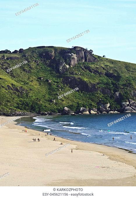 Brazil, State of Sao Paulo, Ilhabela Island, Elevated view of the beach in Bonete
