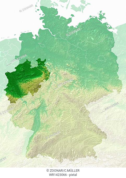 North Rhine-Westphalia - topographical relief map