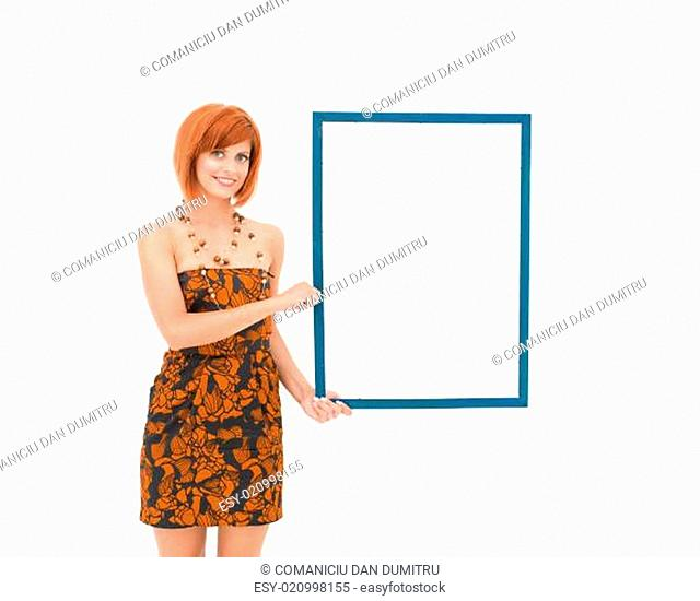 beautiful woman holding wooden frame