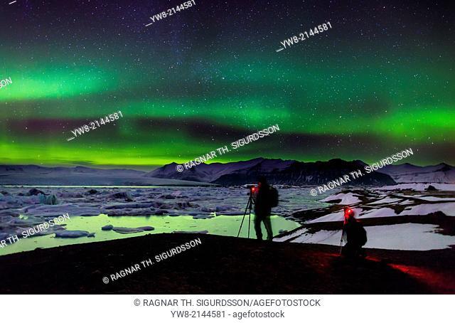 Photographing the Auroras and Icebergs at the glacial lagoon, Jokulsarlon, Breidamerkurjokull, Vatnajokull Ice Cap, Iceland