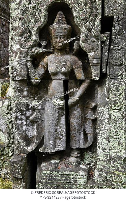 Devata carving, Ta Prohm, Angkor, Siem Reap, Cambodia, South east Asia