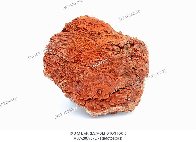 Red gypsum with hematite quartz crystals (silicate). Gypsum is a mineral composed of calcium sulfate dihydrate. This sample comes from Sierra de Albarracin