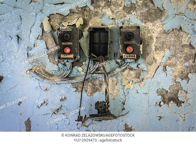 Light switches in High school No 3 in Pripyat ghost city of Chernobyl Nuclear Power Plant Zone of Alienation in Ukraine