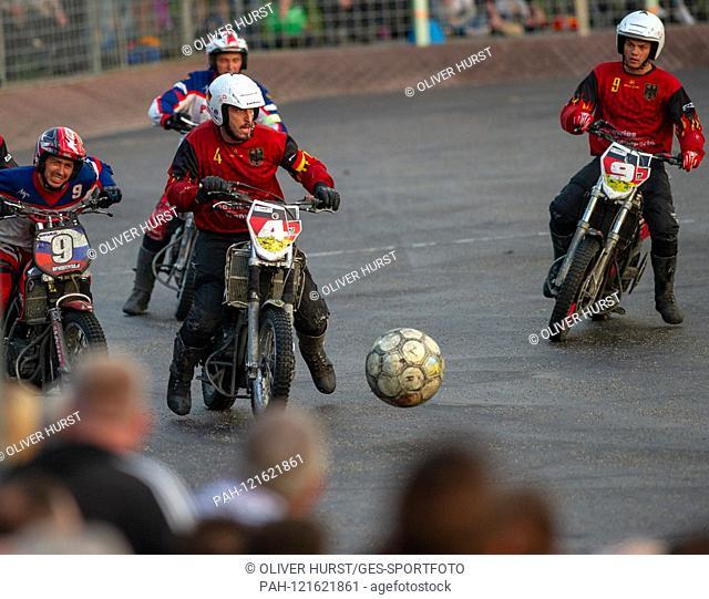 Benjamin Walz (GER) on the ball. GES / Motoball / European Championship, Final: Germany - Russia, 22.06.2019. Sport: Motoball: Team vs