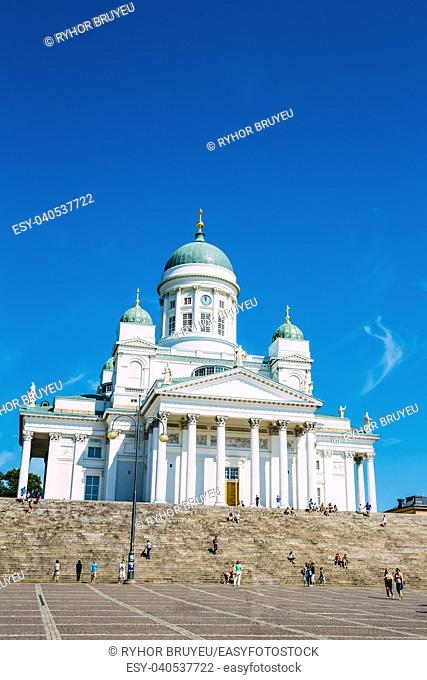 Helsinki Cathedral, Helsinki, Finland In Summer Sunny Day