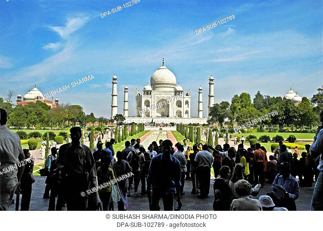 Wonder world Taj Mahal Heritage site Agra Ancient artist artistic beautiful blue sky clouds Color constructed 1631 A.D -1648 A