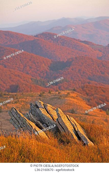 View from Rozsypaniec Mountain towards Ukraine. Bieszczady Mountains. Poland. Autumn