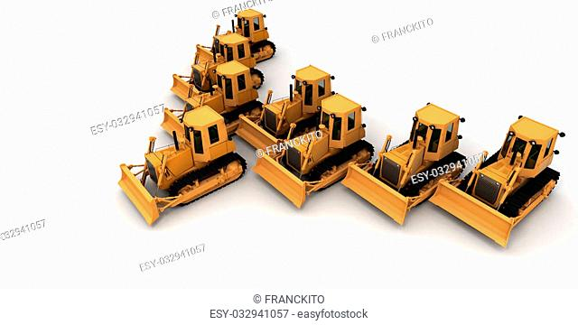 Eight yellow bulldozers in formation