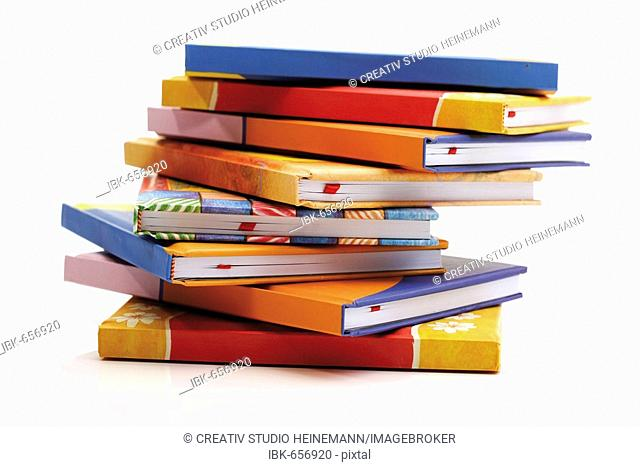 Stack of books, multicoloured book jackets