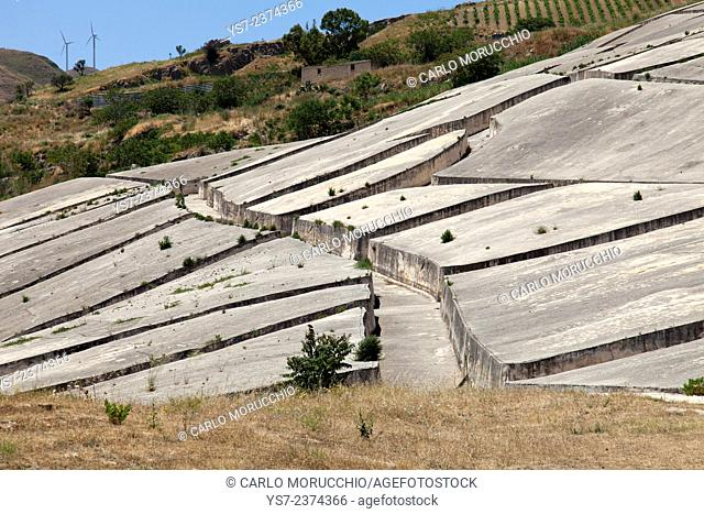 Concrete land art work by Alberto Burri on Gibellina village destroyed by an earthquake in 1968, Trapani, Sicily, Italy, Europe