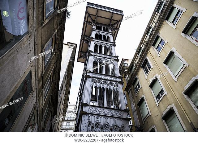 The Santa Justa Elevator in Lisbon, Portugal