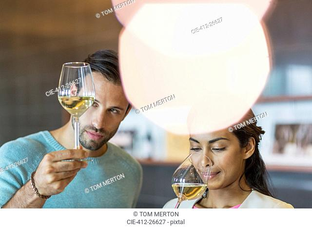 Couple wine tasting