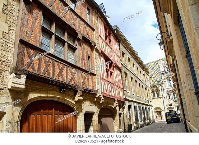 Traditional timber-frame Tudor style buildings, Rue Porte aux Lions, Hotel Aubriot, Dijon, Côte d'Or, Burgundy Region, Bourgogne, France, Europe